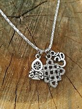 Buddhist Endless Life Knot of Love Dharma Wheel OM OHM Yoga Necklace Silver