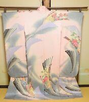 Furisode Silk Kimono Women Japanese Wedding Robe Pink Flower Long /707