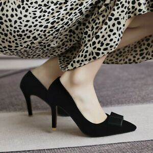 Women's Fashion Bow Knot Pointed Toe Faux Suede Formal High Heels Shoes Office