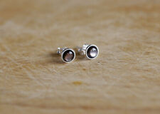 925 Sterling silver stud earrings with Mother of Pearl Black lip Shell cabochons