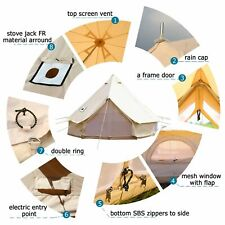 7M Stove Jack Large Bell Tent Waterproof Cotton Canvas Camping Yurts Tent Beige