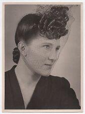 PHOTO ANCIENNE Profil Mode Chapeau Bibis à voilette Vers 1940-1950 Femme