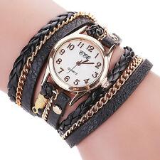 Vintage Women Watch Stainless Steel Leather Bracelet Quartz Analog Wrist Watch