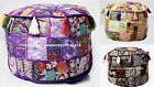 Vintage Patchwork Indian Ottoman Small Pouffe Cover Room Decorative Throw Poufs