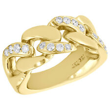 10K Yellow Gold Round Diamond Solid Miami Cuban Link Pinky Ring 11mm Band .82 CT