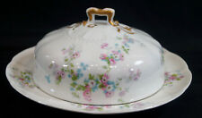 Ahrenfeldt Limoges AHR567 Pink & Blue Floral Covered Butter Dish C. 1894 - 1930