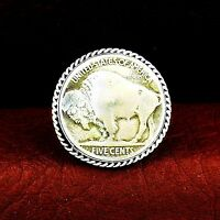 Buffalo Nickle and Sterling Silver Ring  - Select Size ---- R13 t