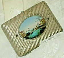 c.1910 French Metal Cigarette Case/Hand Painted Glass Cartouche
