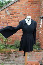 ICONIC VINTAGE 'OSSIE CLARK' Black 'Moss Crepe' tunic top