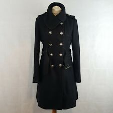 Miss Sixty Womens Military Coat Black Size M Wool Double Breasted Large Collar