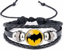 Batman Bat Shield Symbol Glass Domed Black Braided Bracelet