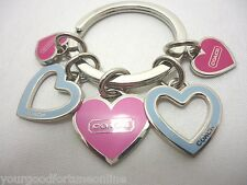 NEW Coach Hearts Multi Mix Pink Blue Keychain KeyRing Key Fob Charms Multi Color