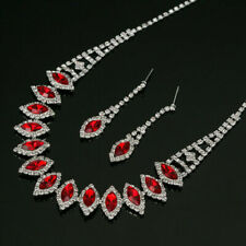 Red Necklace & Earrings Set Austrian Crystal Silver Plated Prom Rhinestone