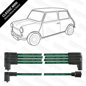 Classic Mini Metro Austin Morris Rover Reliant 8mm Performance HT leads in Green