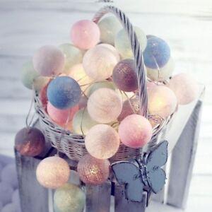 Cotton Ball Globe String Fairy LED Lights Kid Bedroom Home Decor Battery/Plug in