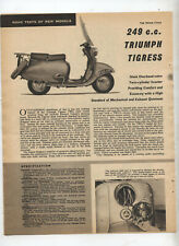 Triumph Tigress TW2 Scooter Motorcycle Original Article Removed from a Magazine