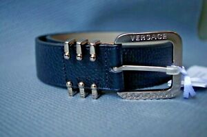 Versace Collection men's silver buckle black belt - Made in Italy, 100% Leather