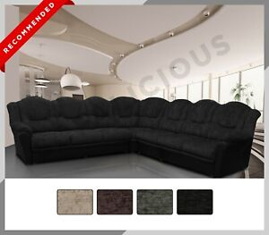 EXTRA EXTRA Large Corner Sofa TEXAS - Chenille & Faux Leather - 4 Colours