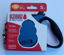 KONG TERRAIN RETRACTABLE TAPE DOG LEASH 16 FT 5M SMALL BLUE/BLACK
