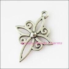 10Pcs Antiqued Silver Tone Flower Cross Frame Charms Pendants 20x28mm