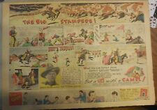 Camel Cigarette Ad: Cattle Stampede Wyoming Ranch Full Page Size ! from 1934