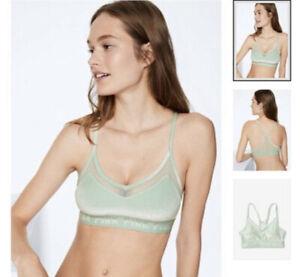 Victoria's Secret PINK Sport Bra Ultimate Lightly Lined Large Green Velvet Mesh
