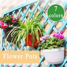 Wall Fence Hanging Planter Flower Plant Pots Handmade Rattan Basket Decor Garden