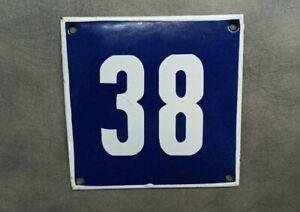 Vintage Enamel Sign Number 38 Blue House Door Street Plate Metal Porcelain Tin