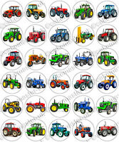 30 x Tractors Themed Party Edible Rice Wafer Paper Cupcake Toppers