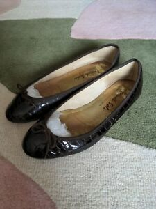 French Sole India Ballet Pumps Brown Patent Croc 42 8