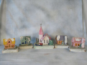 5 Antique Putz Christmas Houses Luffoah Tree Cardboard USA Village Mica WWII