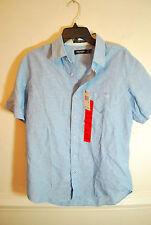 NWT Nautica Mens Classic Fit Linen Blend Short Sleeve Shirt Blue, M