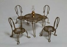 Dollhouse Miniatures 1:12 Metal Brass Cafe Ice Cream Parlour Bistro Table Chairs