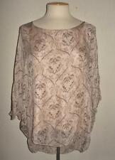 PIAZZA ROMA MADE IN ITALY MS SIZE SMALL BEIGE W/ BROWN PRINT 100% SILK BLOUSE