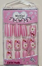 Artificial airbrushed nails pink with white stripes patterned, with 2g Glue