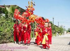 Red 5.5m CHINESE DRAGON DANCE  Folk Festival Costume For 6 children
