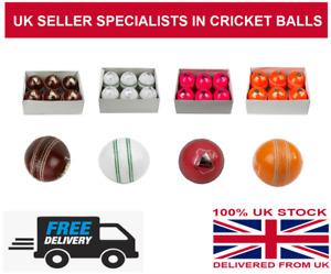 Cricket Balls Red White Orange Pink 4 Piece Hand Stitched Juniors / Kids 4.5 OZ