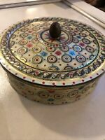 Vintage TIN BOX CIRCLES & STARBURSTS RETRO CONTAINER BELGIUM 7""