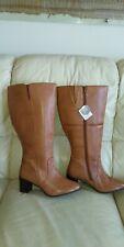 Heavenly Soles Tan Leathe Wide Calf EEE Knee High  Boots Wide Fit UK 8/ EU 41