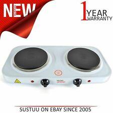 Lloytron E4202 KitchenPerfected  2000w Double Induction Hotplate│Cast Iron│White