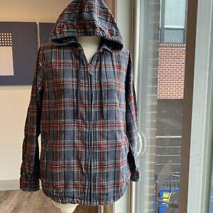 LL BEAN Women's Plaid Flannel Shirt Relaxed Zip Hoodie Full Zip M