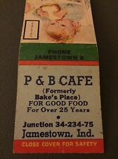 P & B Cafe Jamestown IN Ind Indiana Matchbook Matchcover
