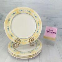 Pfaltzgraff SUMMER BREEZE Stoneware Blue Flowers Yellow Plaid Dinner Plate Set 4