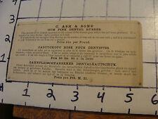Vintage advertising: C. ASH & SONS' GUM PINK DENTAL RUBBER, 1800s