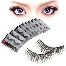 New 10Pairs Long Cross False Eyelashes Makeup Natural Fake Thick Black Eye Lash