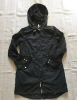 Miss Lily Womens Windbreaker Jacket Black Zip Up Hooded Drawstring Pockets M New
