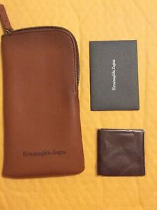 New Authentic ERMENEGILDO ZEGNA Soft Glasses Case With Cleaning Cloth Brown