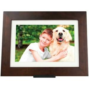 PhotoShare Friends Family Cloud Frame 8 in.Internal Memory SD Card USB LED Brown