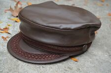 Classic Authentic Greek Fisherman Cap PU Leather Sailor Fiddler Captain Hat Cap