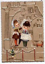 Splendida Serie Completa di 6 cartoline Bambini Natale Dachshund PC Circa 1940